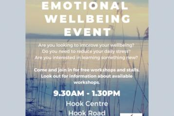 Poster of Emotional Wellbeing event at Hook Centre