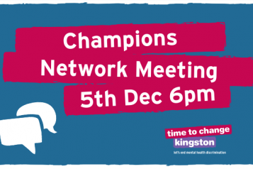Image with speech bubbles and 'Champions Network Meeting 5th Dec 6pm'