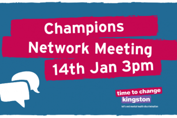 Image with speech bubbles and 'Champions Network Meeting 14th Jan 3pm'