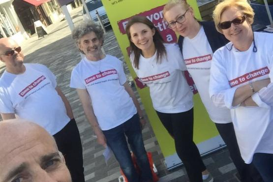 Time to Change volunteers in Kingston market place